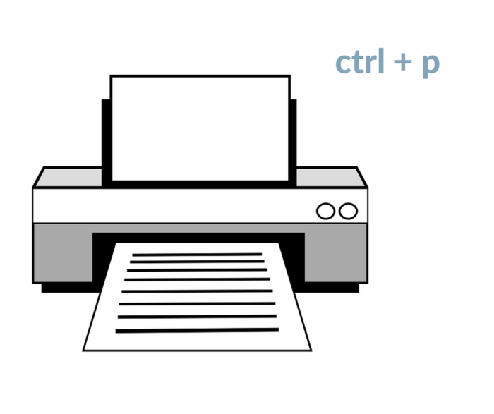 Raccourcis clavier : imprimer