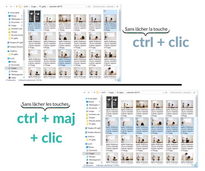 Raccourcis clavier : sélectionner
