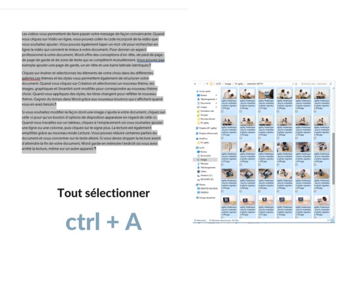 Raccourcis clavier : Tout sélectionner